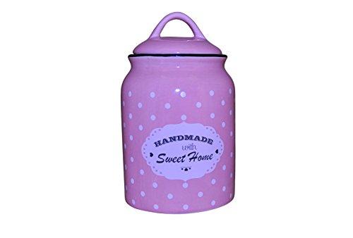 Princess Taufkleid Vorratsdose mit Deckel aus Keramik - Modell 2 mit Punkten rosa 1.500ml (2 Tasse Glas Vorratsbehälter)