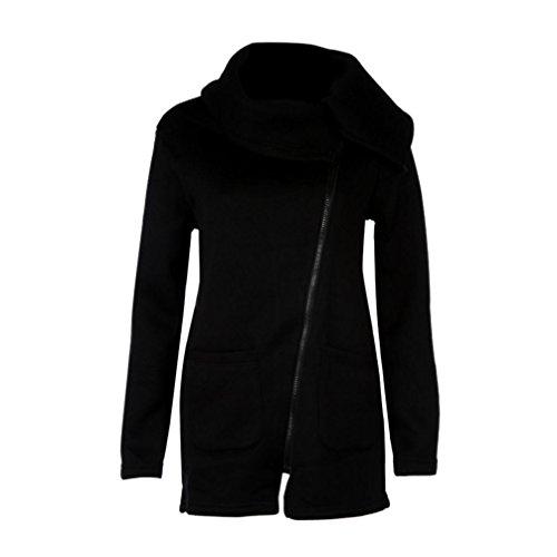 Sansee donne inverno zipper camicetta con cappuccio felpa con cappuccio giacca Black