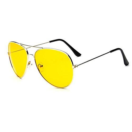 YLNJYJ Sonnenbrillen Mode Männer Auto Nachtsichtbrille Fahren Hd Brille Uv400 Gelb Objektiv Fahrer Aviator Sonnenbrille Brille Frauen Brille