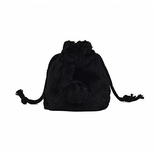 Niedliche Plüsch Eimer Tasche Handtasche Pumps Umhängetasche Einfach Alle Match Messenger Bag , schwarz