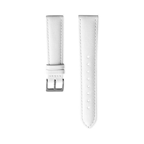 Nordgreen Lederarmband Weiß für 36mm Uhren in Silber