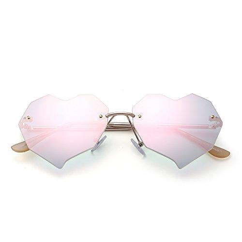 JIM HALO Herz Randlos Sonnenbrille Klar Flach Linsen Designer Brille Damen mit Nieten(Gold/Kristallrosa)