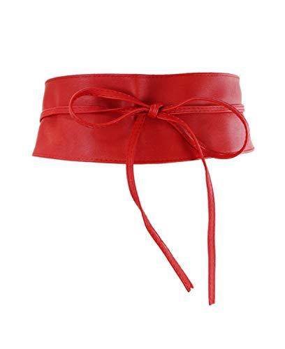 irisaa Damen Taillengürtel Breiter Obi Gürtel Wickelgürtel Bindegürtel Hüftgürtel, Damen Taillengürtel 2020:Rot