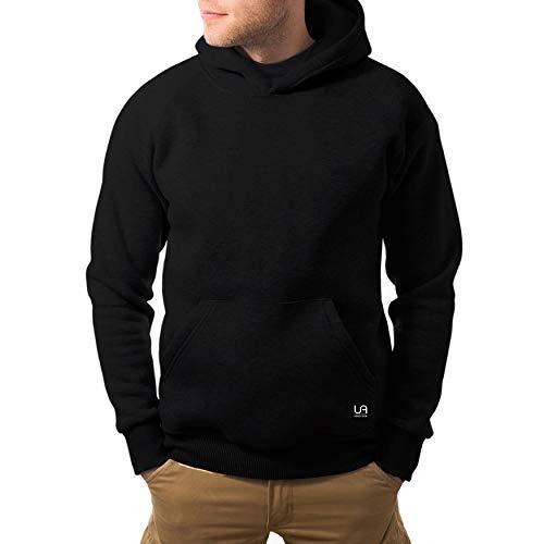 urban ace | Zip Hoodie, Sweatjacke, Pullover-Jacke | Herren, Unisex | für Fitness und Freizeit | grau oder schwarz | weich, mit hochwertiger Verarbeitung | S, M oder L (schwarz, L)