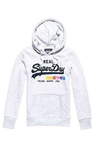 Superdry Women's Vintage Logo Pop Entry Hood Jumper, Grey (Ice Marl 54g), Medium (Size: 12)