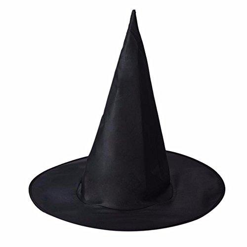 LANDFOX 10 Halloween Hexe Hüte 10Pcs Erwachsene Frauen Black Witch Hut für Halloween Kostüm Zubehör Cap 36x38x20 cm Hexenhut, Federn und Netz, Einheitsgröße