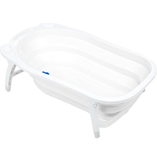 Baby Badewanne/Reisebadewanne mit Verschlus-Thermometer (ZUSAMMENKLAPPBAR) (WEIß)