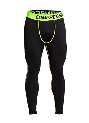 Fringoo Workout-Kompressions-Strumpfhosen für Herren zum Laufen, Fitness-Leggings, lange untere Lage, Thermo-Hose für Sport, Training Gr. L, Basic Black - Yellow (Laufen Strumpfhosen)