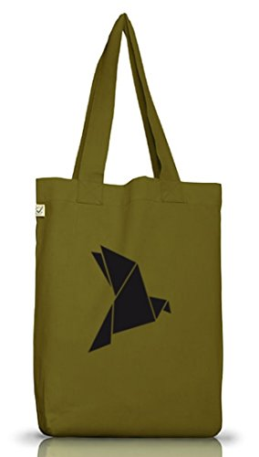 Shirtstreet24, Origami Vogel, Tier Natur Jutebeutel Stoff Tasche Earth Positive (ONE SIZE) Leaf Green