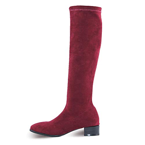 C.PARAVANO Over-The-Knee Stretch Boots with Mirror Heel Shoes(Red 39)