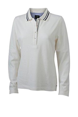 JAMES & NICHOLSON Donna Polo manica lunga con dettagli alla moda bianco sporco/navy