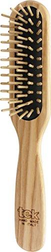 Tek spazzola per capelli rettangolare stretta in legno di frassino con dente corto - Handmade in Italy