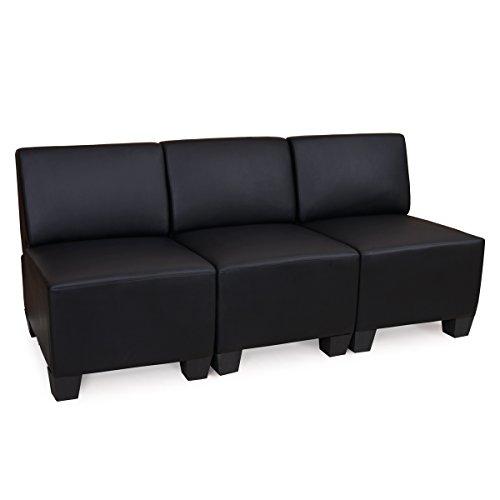 Sistema modulare lione n71 salotto ecopelle divano 3 posti senza braccioli ~ nero