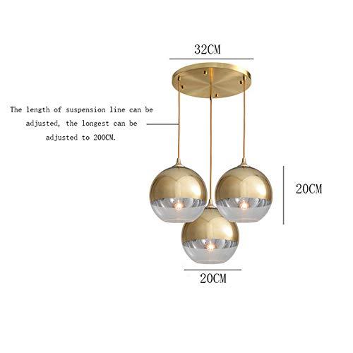 LED Pendelleuchten Persönlichkeit Altholz Esszimmer Champagner/Silber Glaskugel Hängeleuchte Hängelampe Living -