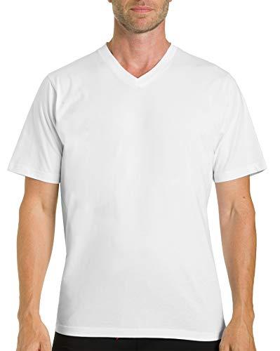 Otto Kern Herren T-Shirt Halbarm 2er Pack I V-Neck Shirt für Herren I Herrenunterhemd Kurzarm aus 100% Baumwolle I Hochwertige Herrenshirts Single Jersey I Weiß Gr. M (V-neck Kern)