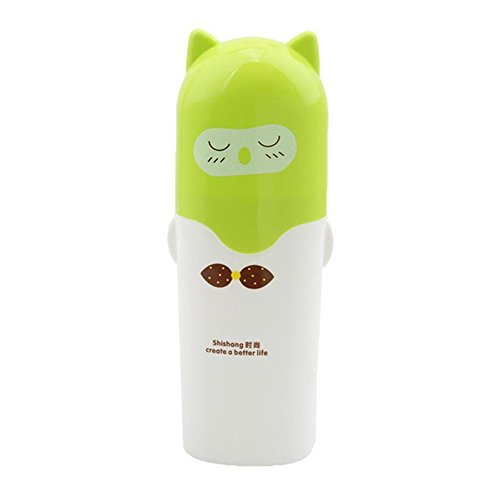gluckliy tragbar Cartoon Tier Zahnbürstenhalter Box Kunststoff Zahnputzbecher Zahnpasta Fall Cup Travel Camping -, plastik, grün, 6.5*4.5*19.5cm -