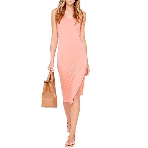 QIYUN.Z Sommer Laessig Seitenschlitz Einfarbig Slim Midi Sleeveless Backless Sommerkleid Pink