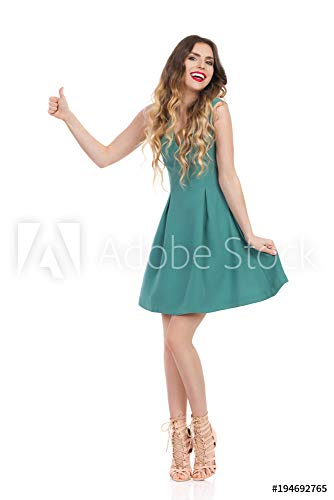 druck-shop24 Wunschmotiv: Beautiful Young Woman In Green Mini Dress and High Heels is Showing Thumb Up and Laughing #194692765 - Bild als Klebe-Folie - 3:2-60 x 40 cm / 40 x 60 cm - Mini Womens Heels