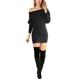 Schulterfreies langaermelig Mini Kleid Schwarz Gr. M 38-40