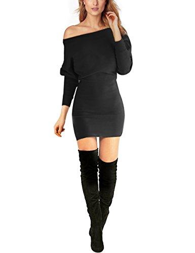 Schulterfreies langaermelig Mini Kleid Schwarz Gr. L 40-42 (Mini-kleid Schwarzes)