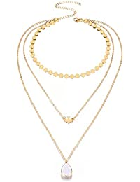 dc jewels Princess Style Multi-Layered Gold Plated Opal Stone Fashion Necklace Chain for Women