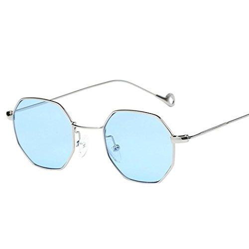 Damen Herren Sonnenbrillen Rosennie Frauen Männer Mode Metall Unregelmäßigkeit Rahmen Gläser Klassische Sonnenbrille Retro Vintage Unisex Brille Sommer Feiertag gespiegelte Flieger Gläser (Blau) (Blaue Pixel Sonnenbrille)