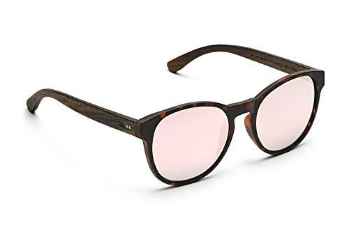 TAKE A SHOT - Große runde Holz-Sonnenbrille Damen, Holz-Bügeln und Kunststoff-Rahmen, UV400 Schutz, rückentspiegelte Gläser - Red Queen