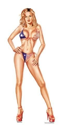 can Patriotic Girl Pinup PIN-UP HUGE Sticker - 5.5