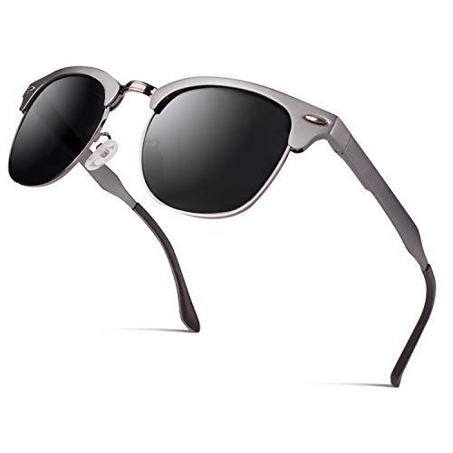CGID MJ56 clubma Unisex Retro Vintage Sonnenbrille im angesagte 60er Browline-Style mit markantem Halbrahmen Sonnenbrille,Brillen trends 2018, B Gun Grau,