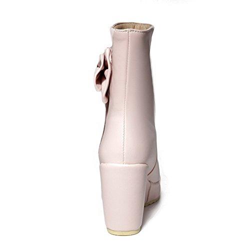 Stivali Morbido Colore Rosa Voguezone009 Solido Materiale A Ha Basso Tacco In Donna Alto Con Di Fiocco 71qwBBY