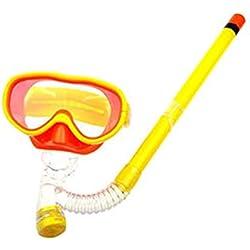 Les accessoires d'eau Enfants Enfants Masque de plongée + Dry Top Snorkel Windows Lunettes trempées trempées Natation Snorkeling Masques junior en verre Étanche Équipement de plongée anti-buée (jaune