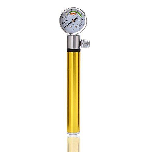 Aolvo Mini Bike Pumpe mit Tire Pressure, Presta Schrader, universelle Passform, 120PSI Hochdruck-Inflator mit Ball mit Nadel, Fahrrad Reifen Pumpe für Straßen-MTB BMX Fahrrad Beach Cruiser, gelb