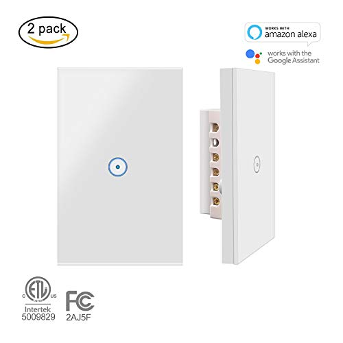 Applique da parete Jinvoo Smart Wi-Fi Touch US 1 pannello, Smart Timing Switch, telecomando con Smart Phone, compatibile con iOS e Android, funziona con Alexa Echo e Google Assistant (2-pack)