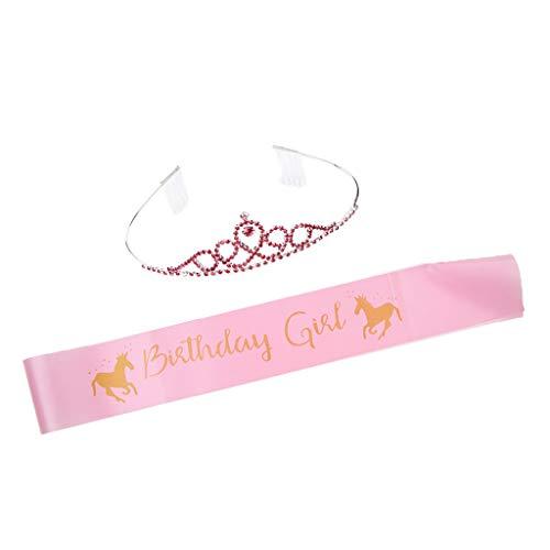 rinzessin Krone mit '' Birthday Girl '' und Einhorn Figur, Kostüm Zubehör für Mädchen ()