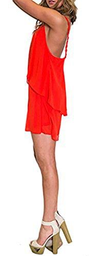 Robe courte en Voilage Léger et Bretelles en Broderie Rouge