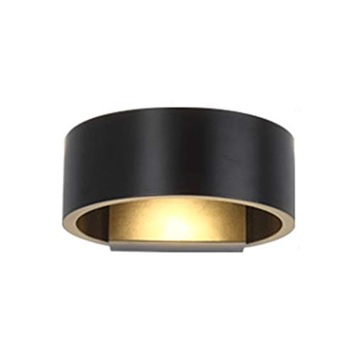LED Wandleuchte, Scheinwerfer Wasserdicht Musterzimmer Gang Treppe Balkon Eingang Haustür Einfach Kreativ Bogen Lampe (Farbe : Schwarz-Warmes licht) -