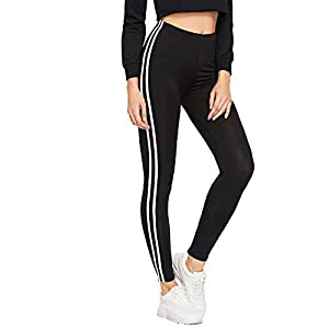 HELISHA® Ankle-Length Gym legging | Free Size|'s Stripe Tights for Yoga, Gym and Active Sports FitnessWorkout Trousers|Gym wear Leggings | Striped Stretchable Jeggings | High Waist Sports Fitness Track Pants for Girls & Women (FREE-SIZE) 26-32 waist Size