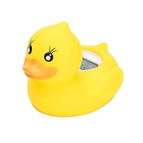 Baby Bath Thermometer, Bath Water Temperature Digital Room Thermometer, Floating Bath Toy in Bathtub Swimming Pool with LED Warning Alarm, Yellow Duck