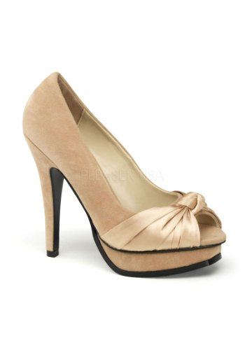Pinup Couture, Scarpe col tacco donna Champagne Sueded Pu-Satin