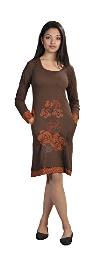 Frauen Langarm-Kleid mit Blumenstickerei und Taschen- CHOCOLATE (LMN-3004-S) (Patchwork Tasche Braun)