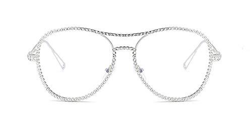 TYJMENG Sonnenbrillen Strass Brillenfassungen Weibliche Frauen Übergroße Mode Vintage Brille Mit Klaren Gläsern Gold Silber Metall Gläser, Silber W Klar