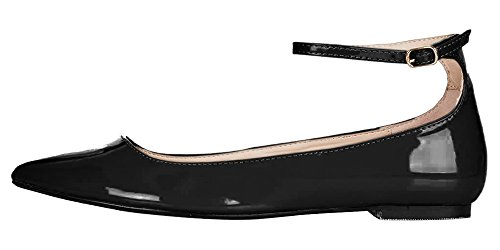 MONICOCO Übergröße Flache Damenschuhe Lackleder Knöchelriemchen Schnalle Geschlossene Ballerinas Schwarz 37 EU