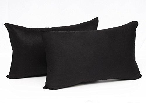 EUGAD Doppelpack Kissenbezug Kissenhülle mit Reissverschluss 100% Baumwolle, 2X Sofakissen Dekokissen Bezug, 2er Set Kopfkissen Zierkissen Hülle Bezüge, 40x60 cm, Schwarz, KB5146szQ2