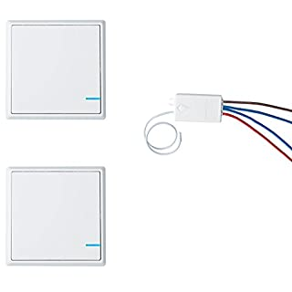 NineLeaf Wireless Lights Switch Kit, No Wiring, Quick Create Or Relocate On/Off Self-Powered Remote Control Switch for House Lighting(2PK One-Way Switch and 1PK Wireless Receiver)