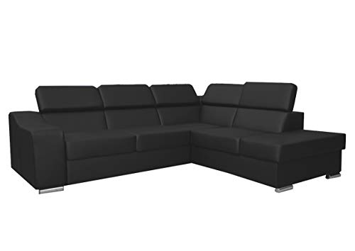 mb-moebel Ecksofa mit Schlaffunktion Eckcouch Sofa Couch L-Form Polsterecke Schwarz EDNA (Ecksofa Rechts)