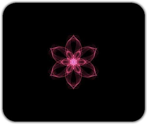 Nizza semplice Graphic Flower Art Rosa Sfondo nero Mouse Pad Tappetino morbido lavabile - Nizza Mouse Pad