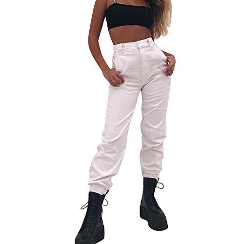 WOZOW Military Hosen Damen Cargo Solid Einfarbig Metallic Chain Long Lang Casual High Waist Loose Lose Cool Street Kardashian Freizeithose Stoffhose - Yoshi Kostüm Für Hunde