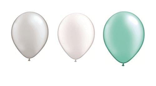 DeCoArt... Set Preis 60 Luftballons Pastell perl Silber, perl weiß und perl Mint je 20 ca. 28 cm und 60 Ballonverschlüsse Polyband weiß sowie EIN Aufblasventil sowie Infoblatt