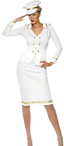 erdbeerloft - Damen Offizier Kapitänskostüm mit Hut, M, Weiß (Deutschen Offizier Hut Kostüm)