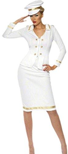 Marine Pirat Kostüm Jack - Halloweenia - Damen Offizier Kapitänskostüm mit Hut, M, Weiß